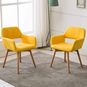 Lansen Furniture Modern Living Dining Room Accent Arm Chairs Club Guest with Solid Wood Legs (2, Bright Yellow)