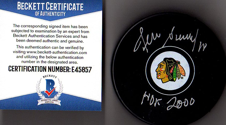 Beckett-BAS Denis Savard #18'HOF 2000' Autographed Signed Chicago Blackhawks Puck