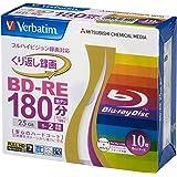 三菱ケミカルメディア Verbatim くり返し録画用 BD-RE VBE130NP10V1 (片面1層/1-2倍速/10枚)