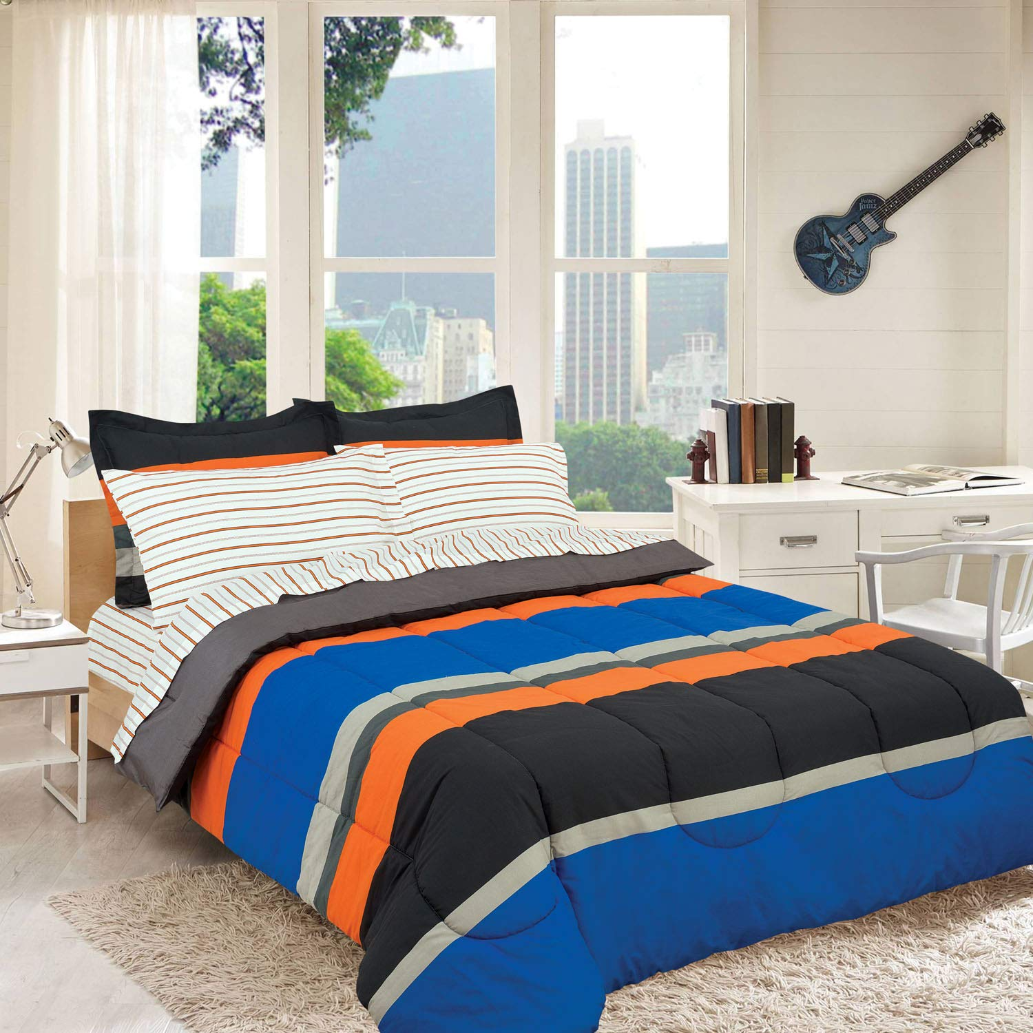 Royale Linens Campus Colors Rugby Stripe Orange Blue and Grey, Reversible, Full, Complete Set