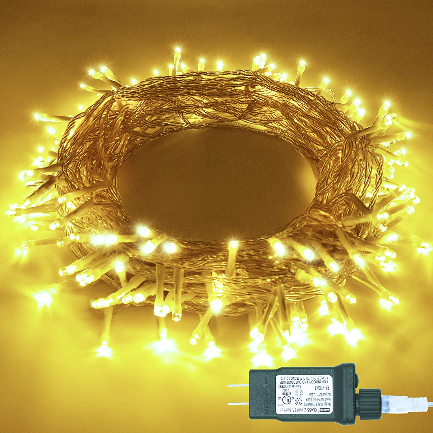 KNONEW LED String Light 33ft 100 LED Indoor Outdoor Fairy String Lights 8 Lighting Modes for Christmas Thanksgiving Halloween Wedding Birthday Party Home Bedroom Tree Decorations (Warm White)
