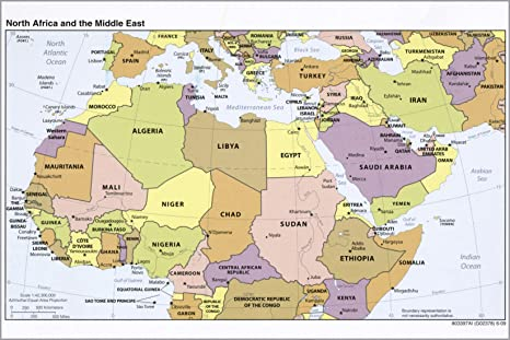 Amazon.com : 16x24 Poster; Cia Map North Africa And Middle East 2009 ...