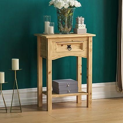 Vida Designs Table Console Corona Avec 1 Tiroir En Pin Avec Etagere Vert Sapin Product Size H 70 X W 50 X D 31 Cm Approx Amazon Fr Cuisine Maison