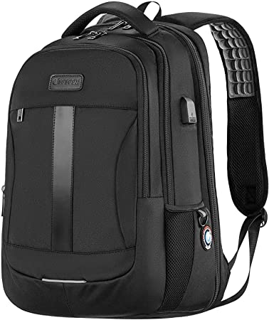 Laptop Backpack Black Sosoon Business Bags with USB Charging Port Anti-Theft Water Resistant Polyester School Bookbag for College Travel Backpack for 15.6-Inch Laptop and Notebook