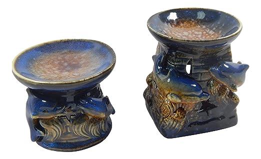 2Stk. Delfín Aroma de proyección Aroma Fantasy Decoración Azul Lámpara de aceite aromática