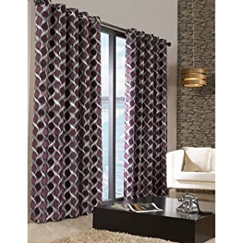 Limoges Patterned Lined Melange Curtains With Eyelet Top (66in X 72in) ( Aubergine)