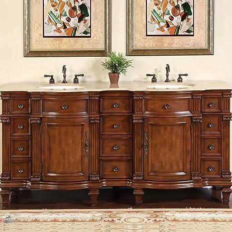 Amazon Com Silkroad Exclusive Travertine Stone Top Double Sink Bathroom Vanity With Furniture Bath Cabinet 72 Medium Wood Home Kitchen