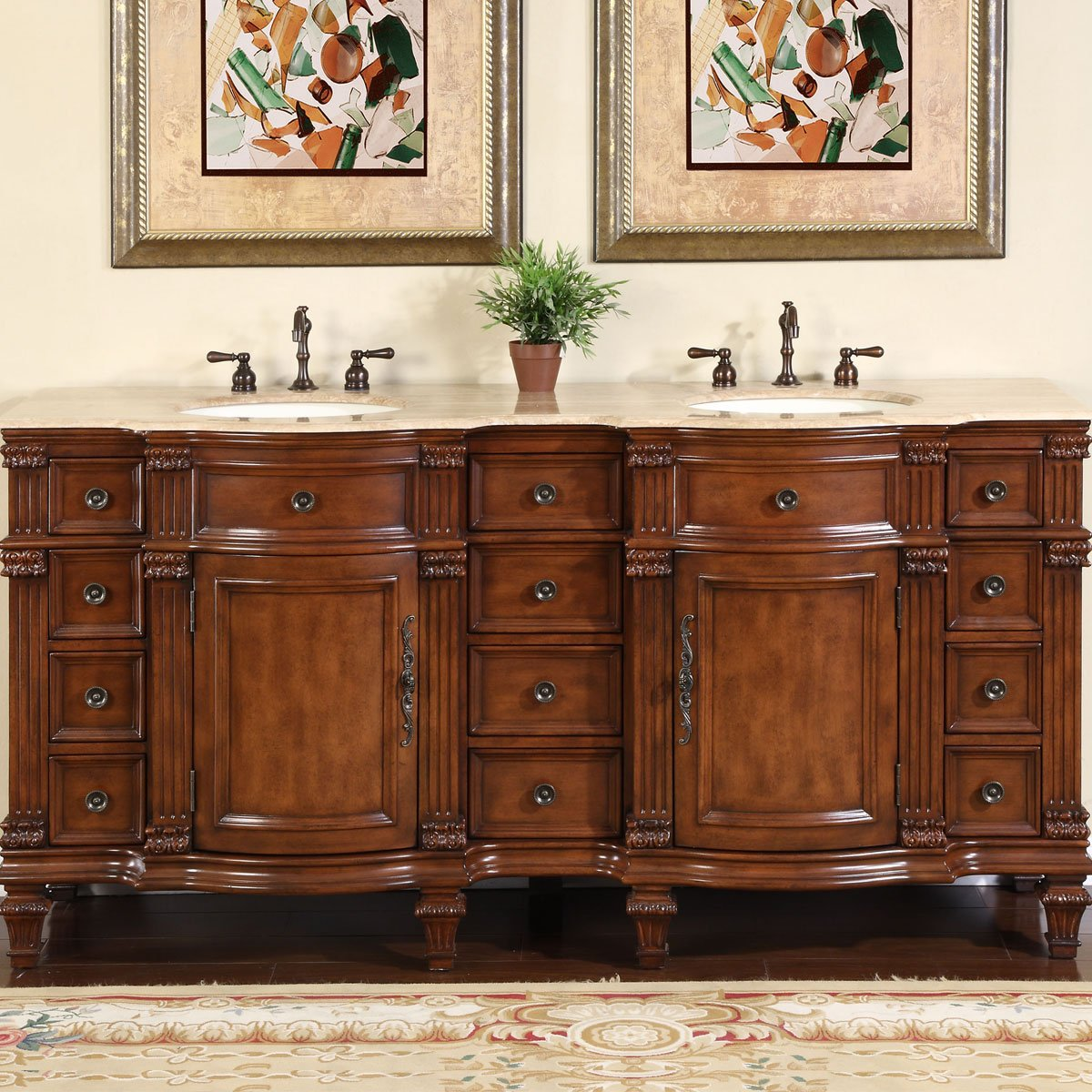 amazoncom silkroad exclusive travertine stone top double sink bathroom vanity with furniture bath cabinet 72 inch home kitchen - Double Sink Bathroom Vanities