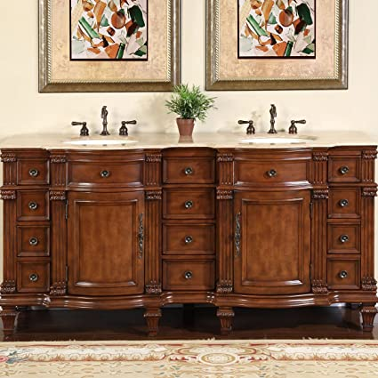 Amazon Com Silkroad Exclusive Travertine Stone Top Double Sink