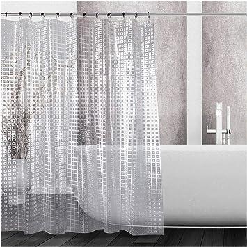 Cortinas de ducha transparentes con ganchos blanco PEVA transparente cortina de ducha forro impermeable cortinas de ba/ño para ba/ñera y sala de estar 120 x 180 cm
