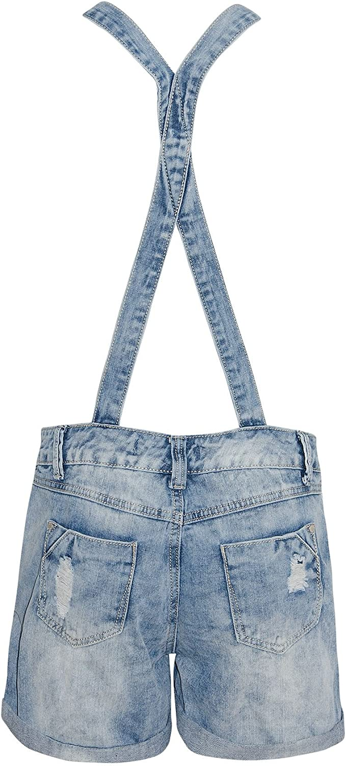 shelikes Womens Denim Ripped Distressed Turn Up Dungaree Jean Shorts Playsuit