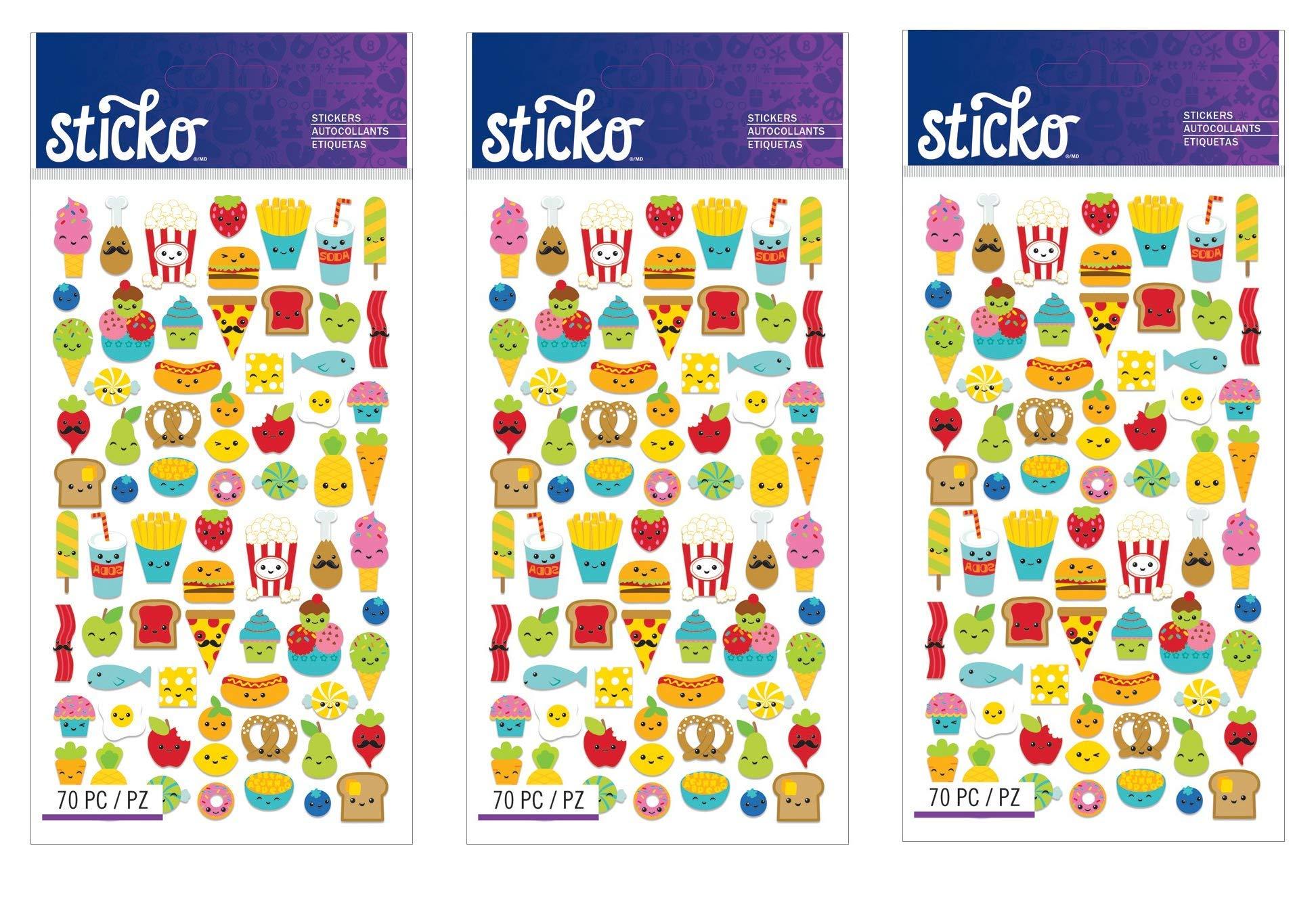 Sticko Classic Mini Food Characters Stickers (Тhree Pаck)