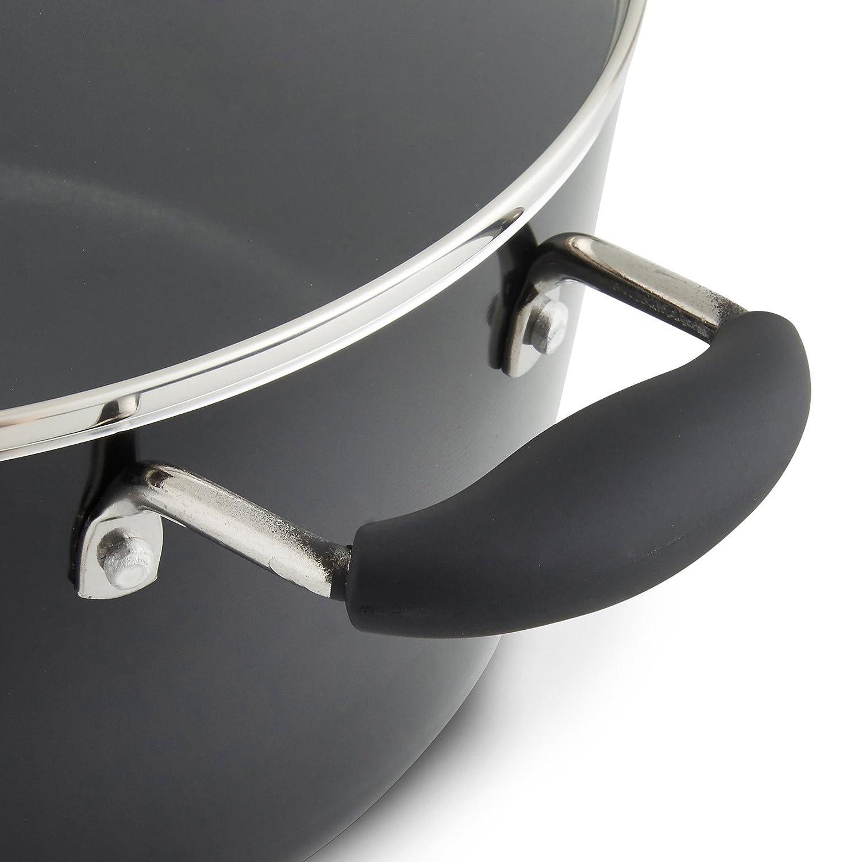 VonShef Pentola Nera da 24cm 3.8L Alluminio Anti Aderente con Coperchio in Vetro e Doppio Manico in Silicone