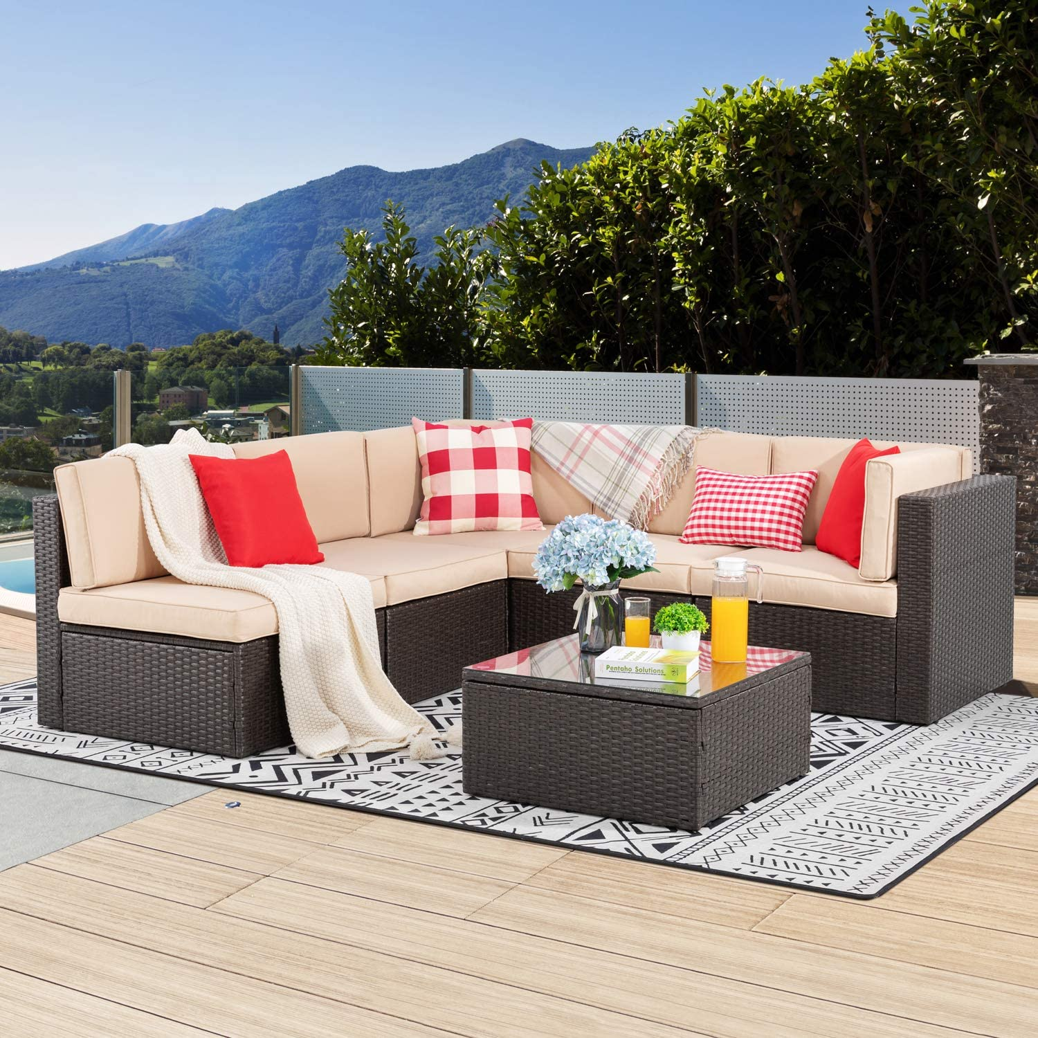 Vongrasig 6 Piece Patio Furniture Set, Small Outdoor Sectional Sofa Couch, All Weather PE Wicker L-Shaped Corner Patio Sofa Garden Backyard Patio Conversation Set w/Glass Table & Beige Cushion(Brown)