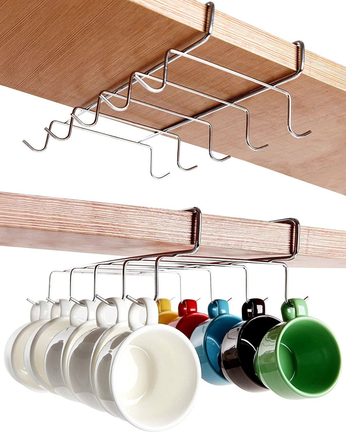 MUCHO Chrome Under Shelf Cabinet Mug Tea Cup Holder Storage Hook Organizer - 10 Hook ValuePound