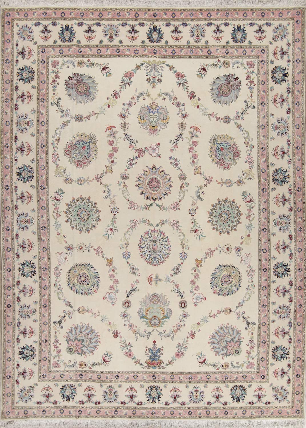 Amazon Com Rug Source Hand Knotted Wool Silk 400 Knots Ivory Oriental Area Rug 10 X13 Kitchen Dining