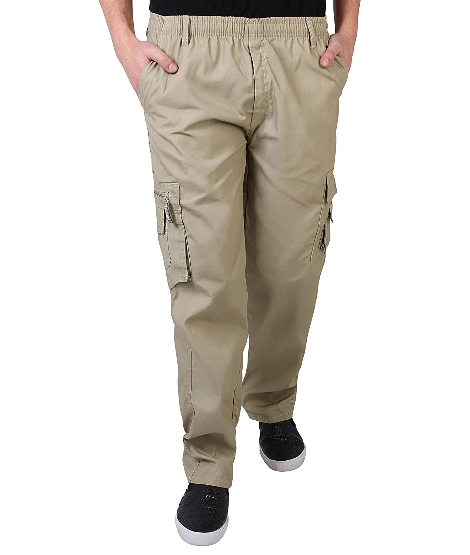 KRISP Herren Praktische Einfarbige Lange Cargo Combat Hose
