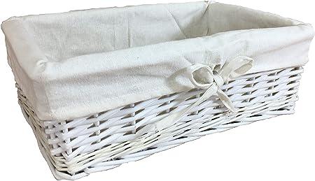 Pelican - Cestos de mimbre Cestas forradas de algodón hechas con tallos enteros de sauce Disponibles en varios tamaños y colores, tela, Blanco, Medium: Amazon.es: Hogar