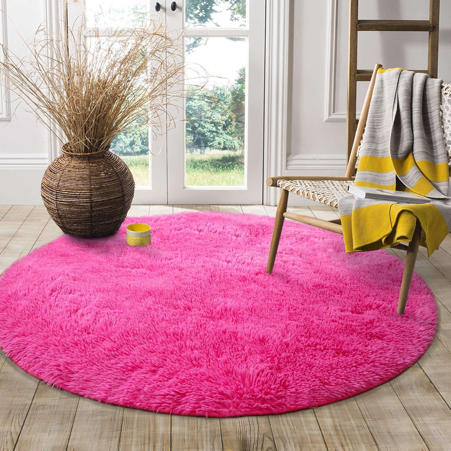LOCHAS Round Area Rugs Super Soft Smooth Rugs Living Room Carpet Bedroom Rug for Children Play Solid Home Decorator Floor Rug and Carpet 4-Feet (Hot Pink)