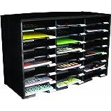 Storex 24-Compartment Literature Organizer/Document Sorter, Black (61611U01C)