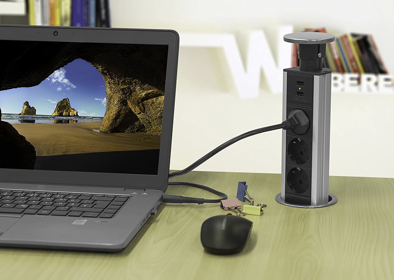 Elbe Prise escamotable 3 Prises 2 USB Couvercle plaqué en métal ... 2f302530e00a
