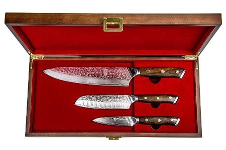 Stallion Damastmesser Ironwood 3er Messerset - Kochmesser, kleines Santokumesser und Officemesser aus Damaststahl mit Griff a