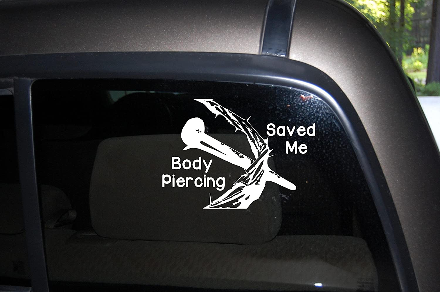 Amazon com body piercing saved me car truck decal automobile window decal 7 wide x 5 tall home kitchen