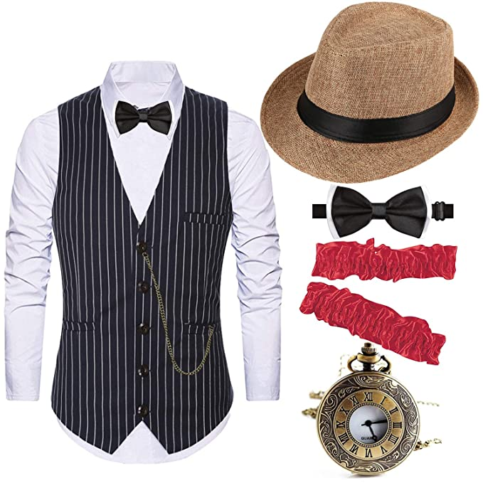 1920s Mens Accessories: Gloves, Spats, Pocket Watch, Collar Bar 1920s Costume Accessories for Men - Gatsby Fedora HatGangster VestVintage Pocket WatchArmbandsPre Tied Bow Tie $36.99 AT vintagedancer.com