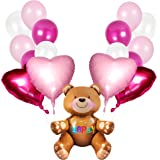 Valentine's Day Gift Decorations Valentines Day Balloons Bouquet ft. Cute Stand Up Teddy Bear Balloon, 18 Inches Magenta, Pink Foil Heart Balloons, White Pink Latex Balloons (Pink Theme)