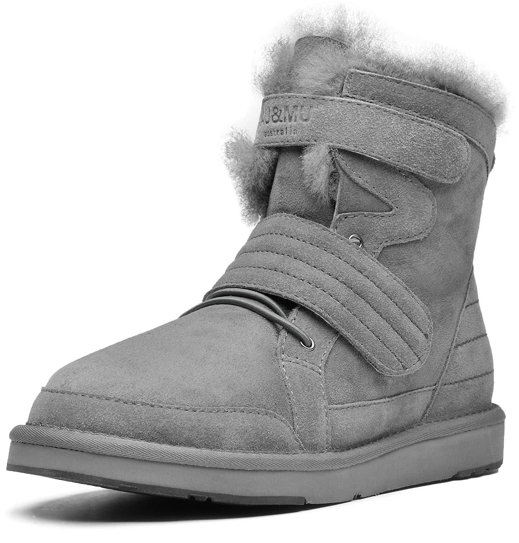 AU&MU Women's Full Fur Sheepskin Suede Winter Snow Boots B073F1RDVH 9 B(M) US|Grey 4