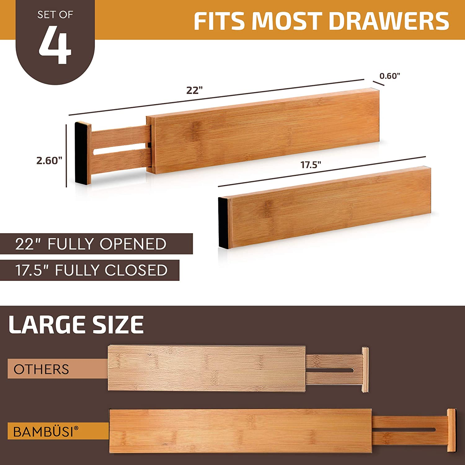 Bamboo Adjustable Drawer Dividers Organizers - Large Expandable Utensil Organizer Separators for Kitchen, Dresser, Bedroom, Baby Drawer, Bathroom & Office, Set of 4 (2.6 Tall, 17.5-22 Inch, Natural): Kitchen & Dining