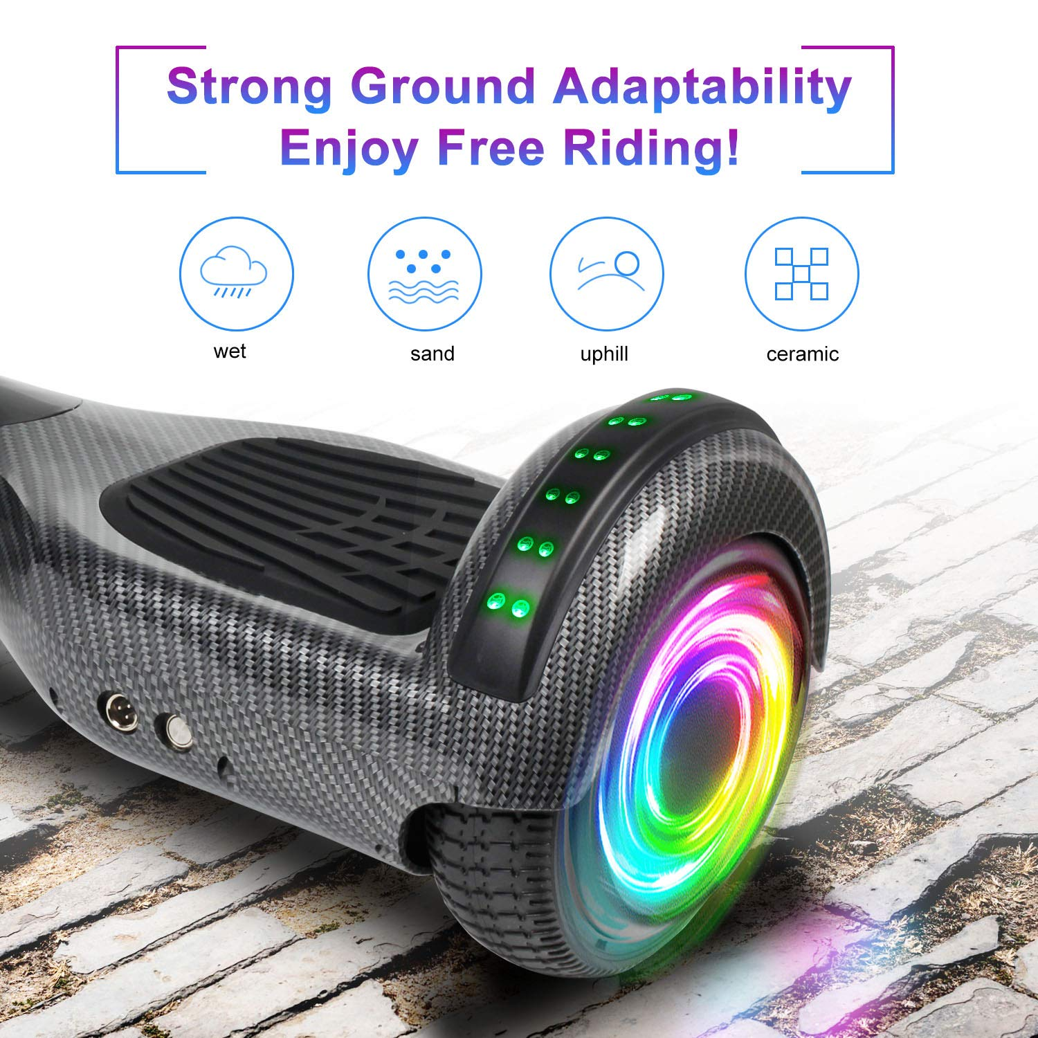 SISIGAD Hoverboard Self Balancing Scooter 6.5'' Two-Wheel Self Balancing Hoverboard with Bluetooth Speaker and LED Lights Electric Scooter for Adult Kids Gift UL 2272 Certified - Carbon Black by SISIGAD (Image #3)