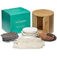 Enchantée Duurzame premium beauty-set: 21 x wasbare make-uppads + 1 x fluwelen pad - incl. bamboe opbergbox en wasnet…