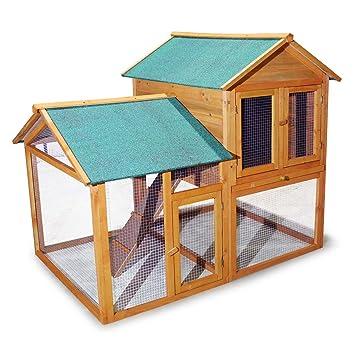 Casa para Roedores Animales pequeños Conejera con Parque Corralito Espacio al aire libre: Amazon.es: Jardín