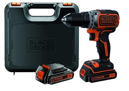 BLACK+DECKER BL186KB-QW - Taladro Atornillador 18V Motor Brushless, Incluye 2 Baterías de Litio 1.5 Ah, Cargador y Maletín