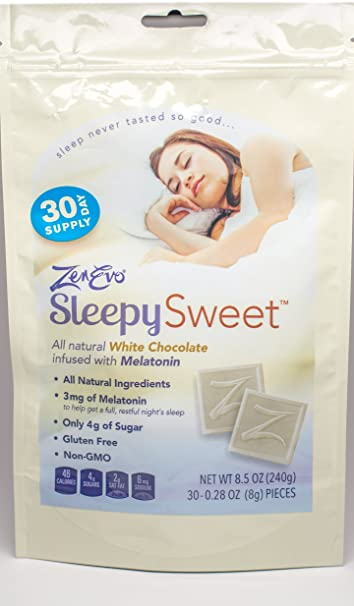 ZenEvo Sleepy Sweets White Chocolate Melatonin Sleep Aid - Safe, Effective Solution for Peaceful Sleep