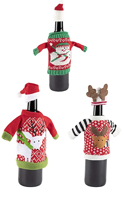 Amazon Com Christmas Wine Bottle Covers 3 Pack Ugly Sweater