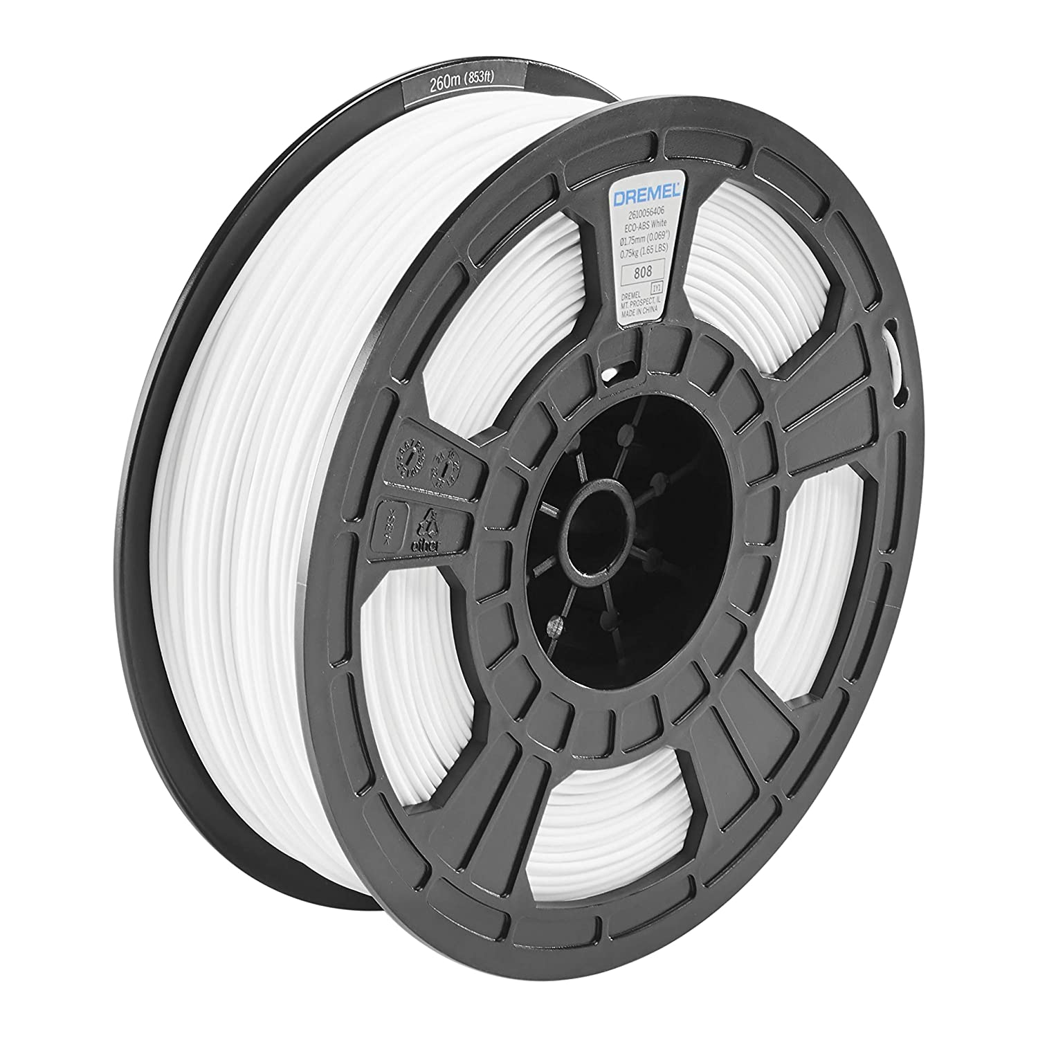 Dremel DigiLab ECO-WHI-01 3D Printer Filament, 1.75 mm Diameter, 0.75 kg Spool Weight, Color White, RFID Enabled, New Formula and 50 Percent More per Spool