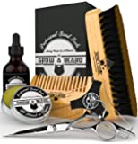 Beard Grooming Kit & Conditioner Products For Men Care/Board Bristle Brush - Pocket Size Mustache Comb - Natural Leave-in Balm - Organic Oil - Stainless Steel Trimming Scissor & Shaping Tool
