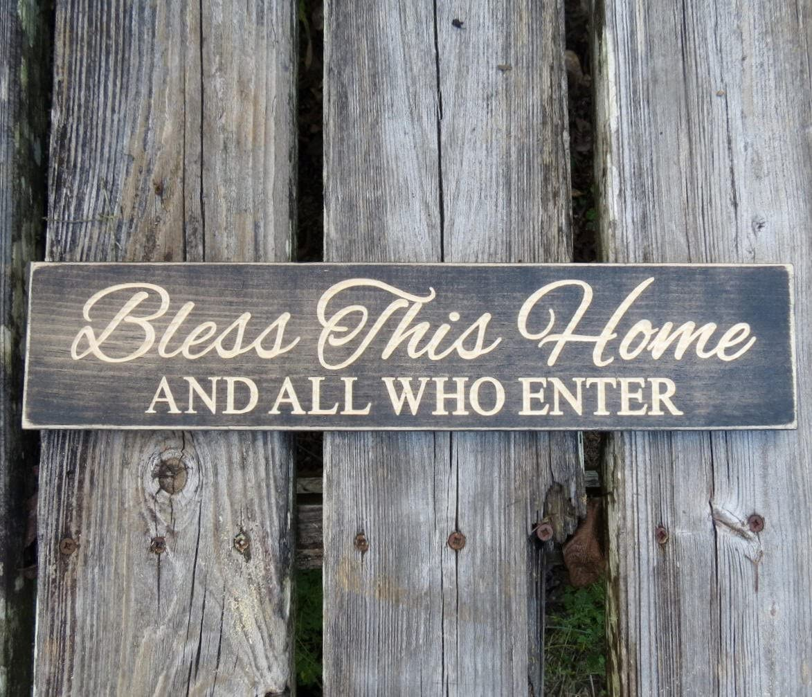 CELYCASY Bless This Home and All who Enter Sign, Bless This Home Sign, Bless Our Home, Home Decor, Wood Sign, Farmhouse Decor, Wall Art, Rustic