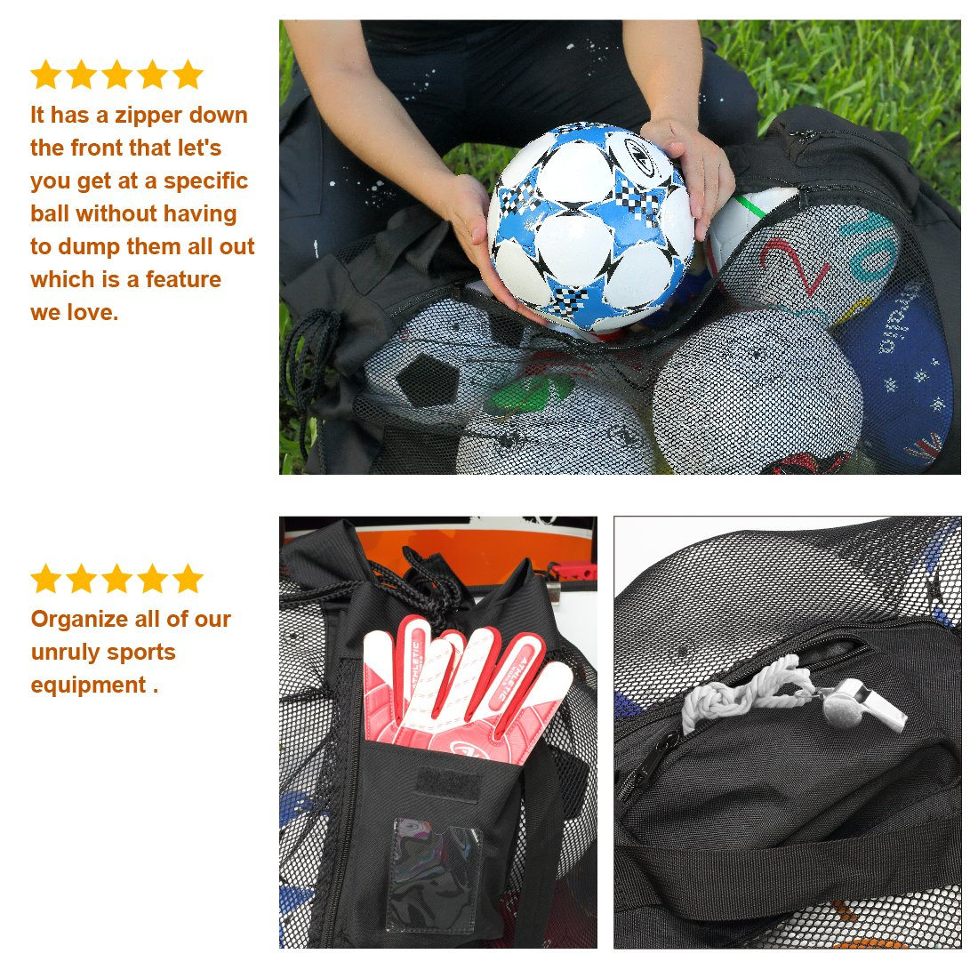 PP PICADOR Mesh Equipment Bag for Soccer Ball Drawstring and Zipper, Sports Mesh Ball Bag Oversize Duffle Reinforced Bottom Folding Portable by PP PICADOR (Image #2)