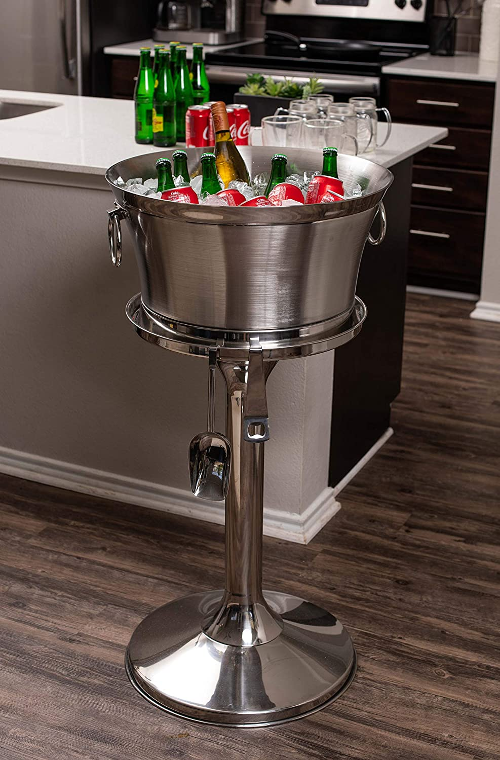 BirdRock Home Metal Beverage Tub with Stand, Scoop and Bottle Opener 18 8 Stainless Steel Double Wall Ice Beverage Cooler Drink Beer Wine Ice Bucket with Handles House Party Events Container Bin