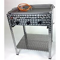 Standbräter LAG 2+1 Gas Brenner 3-flammig silber XXL Edelstahl Garten Balkon ✔ eckig ✔ stehend grillen ✔ Grillen mit Gas