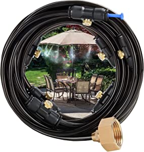 Cairondin Outdoor Misting Cooling System, 26ft Misters for Outside Patio Garden Backyard with 7 Brass Mist Nozzles and 3/4