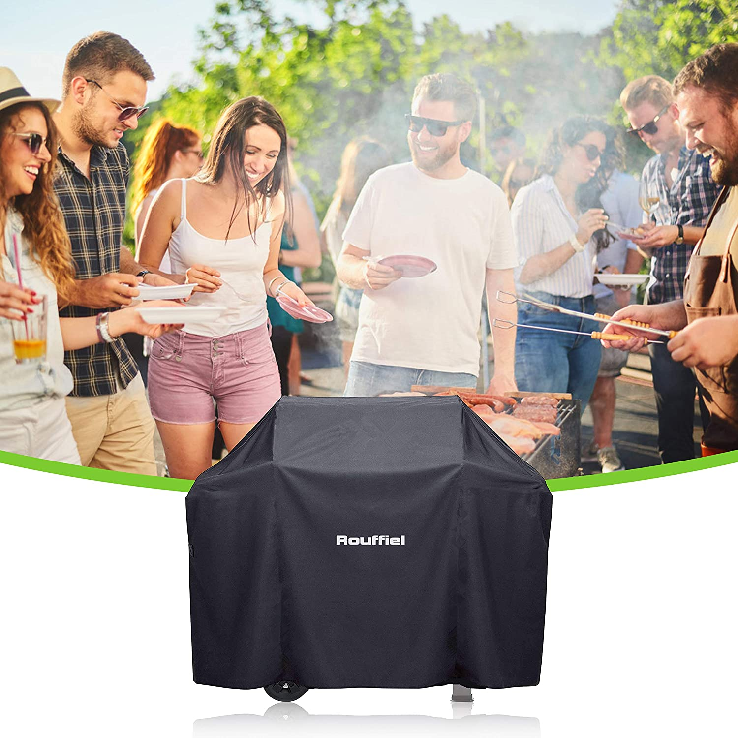 UV Resistant 58 inch Waterproof Grill Cover Outdoor Gas Grill Burner Covers Brinkmann Rip Proof with Storage Bag Rouffiel BBQ Grill Cover Jenn Air Char Broil Heavy Duty Gas Grill for Weber