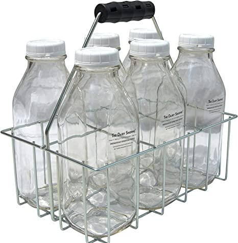 StanPac 32 oz Square Milk Bottles, 2 Cell Carrier The Dairy Shoppe 32-34 oz bottles Wire Bottle Carrier for Libbey