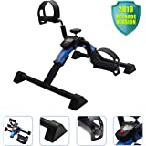 EF Pedal Exerciser Mini Stationary Bike,Foot Peddler Treadmill Seated Chair Cycler for Seniors and Elderly,Arms and Legs Workout with LCD Molitor,Folding Exercise Bike
