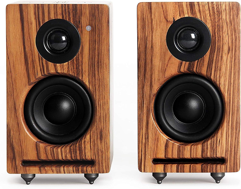 RÖTH & MYERS Twin Speakers HiFi - Altavoces WiFi/Bluetooth. Altavoces de estantería. Diseño Único en Madera de Zebrano 100% Natural. Multiroom. Conecta: Spotify, Airplay, DLNA, Óptica. 70W