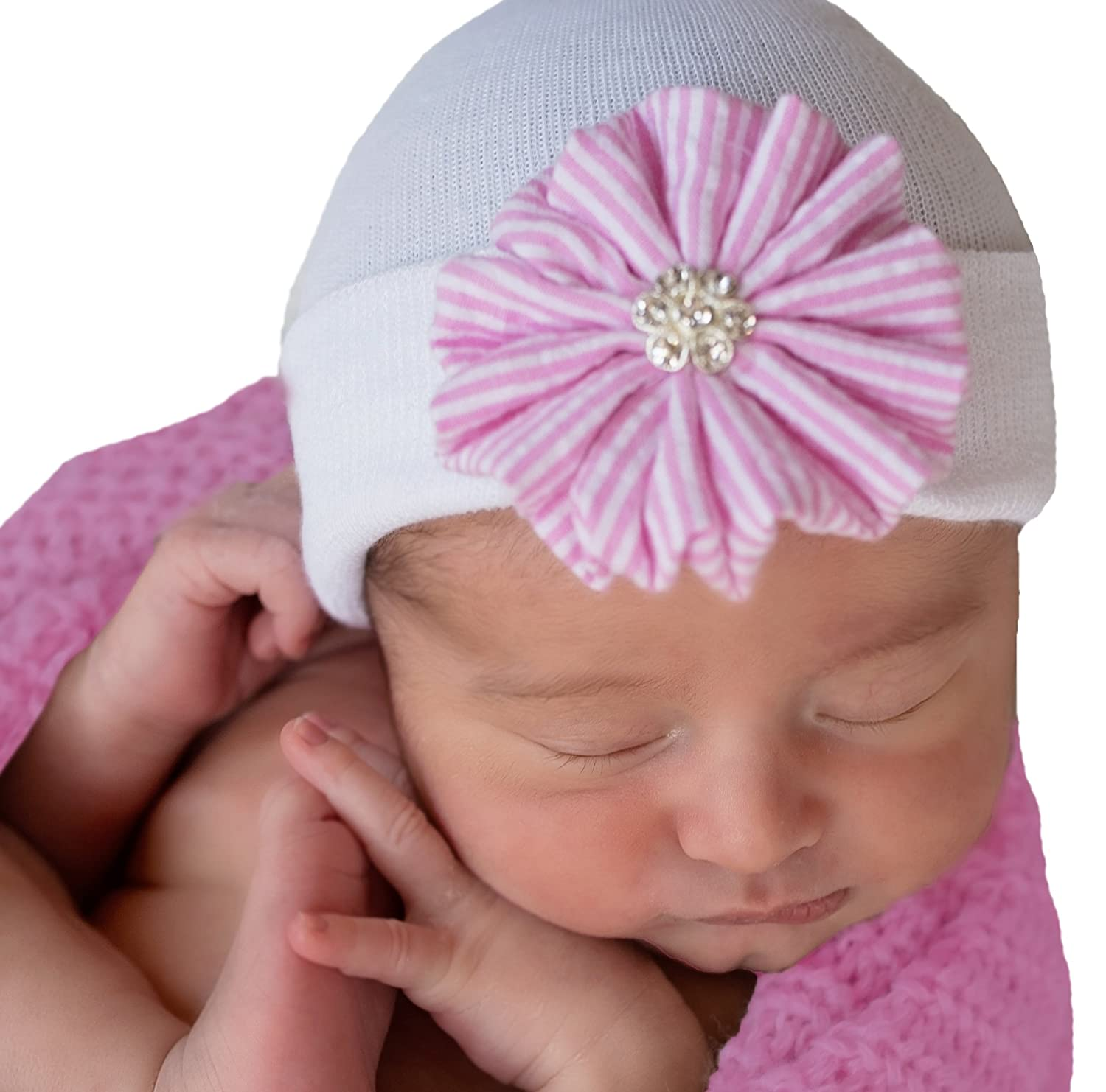59a52c8974335 Melondipity Weet Seersucker Pink and White Striped Hand Crafted Flower  Newborn Girl Hospital Hat - Nursery Beanie  Amazon.ca  Clothing    Accessories