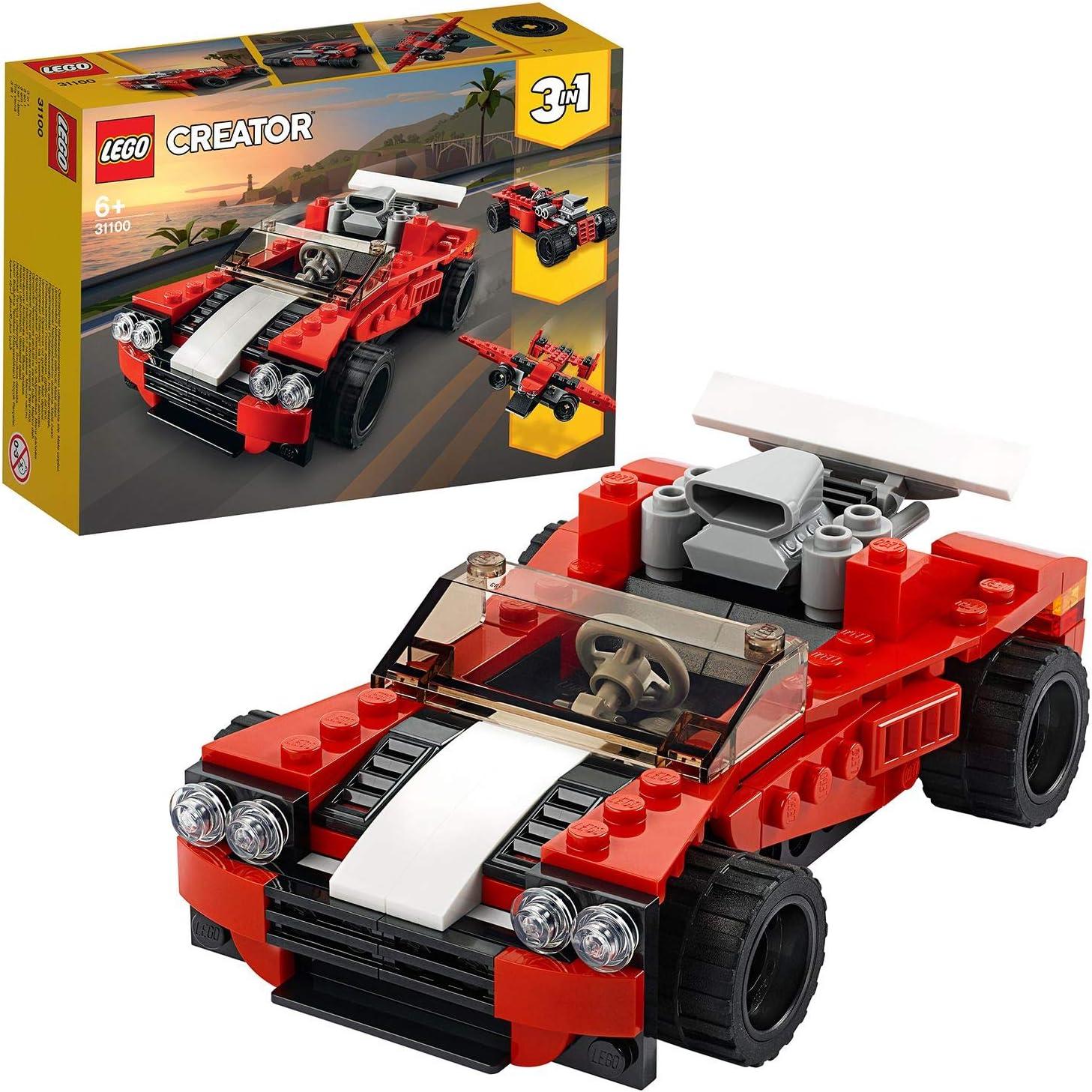 LEGO Creator - Deportivo, Juguete 3 en 1 de para Construir un Descapotable, un Coche de Aarreras y un Avión, Recomendado a Partir de 7 Años (31100) , color/modelo surtido